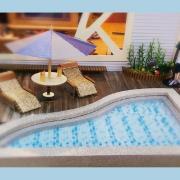 立體泳池(含躺椅*2+茶几+果汁)