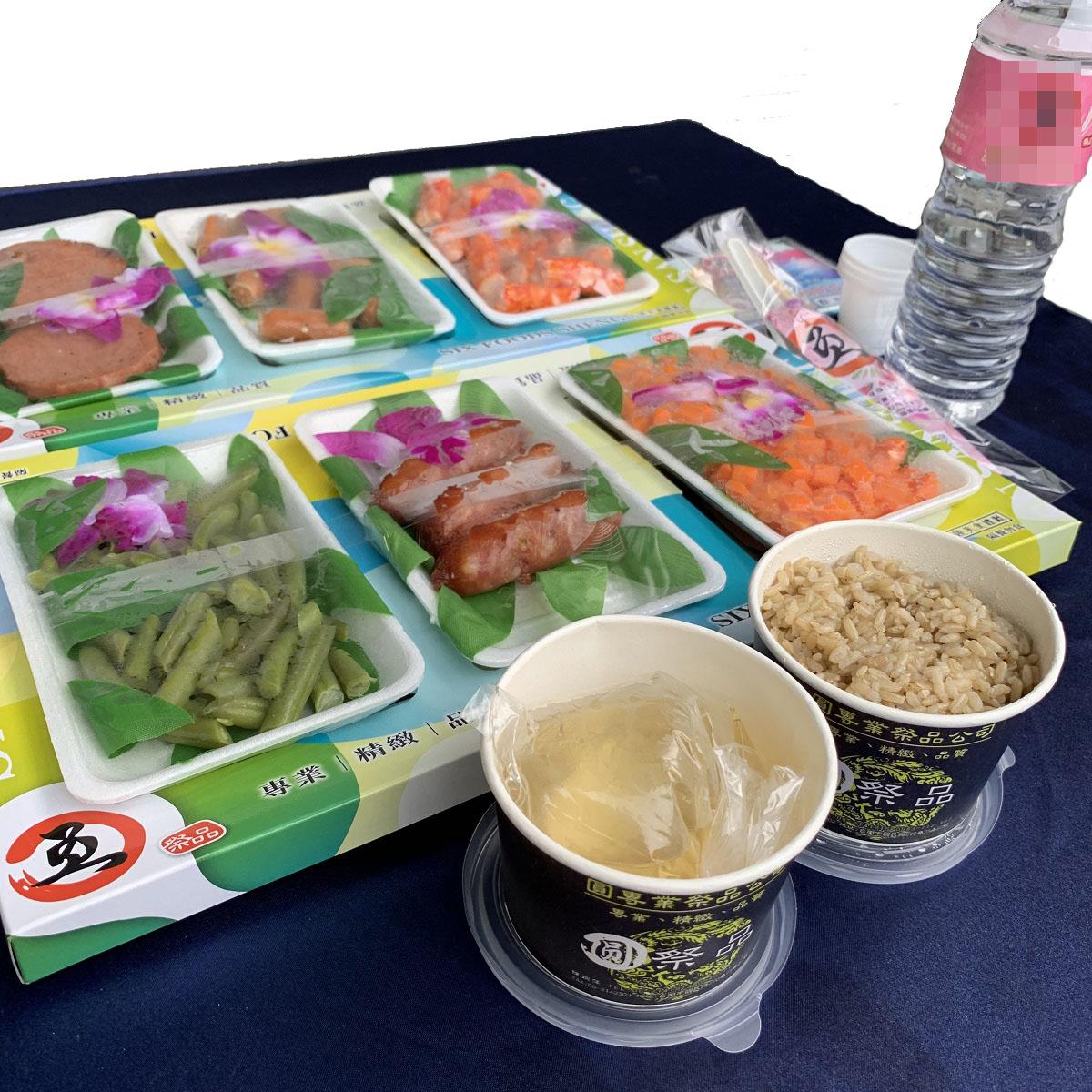 法事祭品-尾日飽福葷六飯菜全組含已煮八珍湯藥壺(葷)